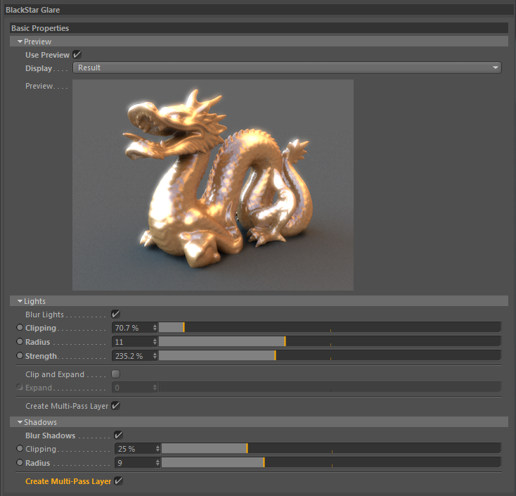 Glare Shader settings for CINEMA 4D